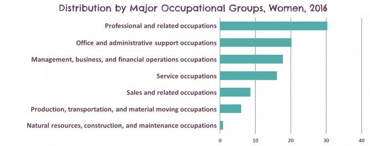 Types of occupations women hold