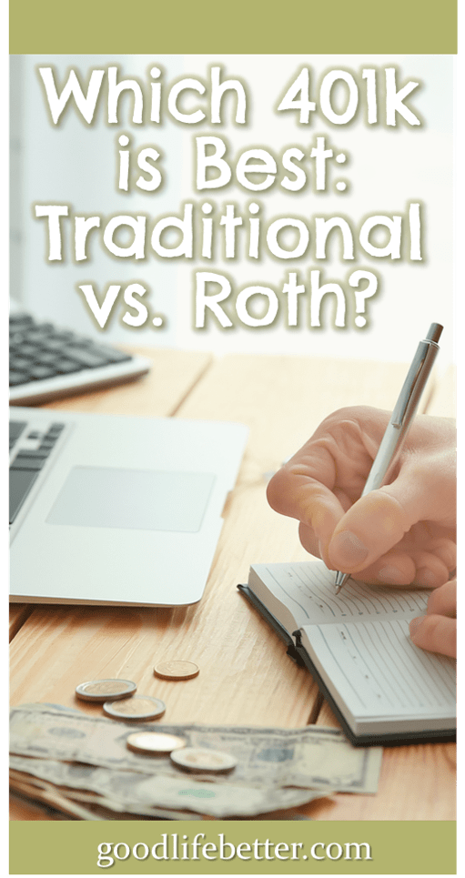 Choosing how to invest my retirement contributions wasn\'t easy as I have access to both a traditional 401k and a Roth 401k. I recently decided to go all in on the Roth 401k because I would rather pay taxes now when I know my income and my tax rate. What\'s your strategy? #RetirementPlanning #401ks #GoodLifeBetter